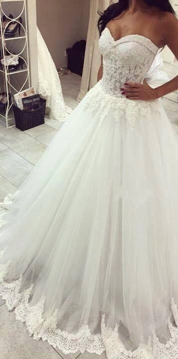 Wedding Dresses Sweetheart Lace Trim Sheer Elegant Bridal Gowns