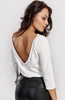 Milu MP37 bluzka ecru Kobieca bluzka, rękaw 3/4, przepięknie odsłonięte plecy