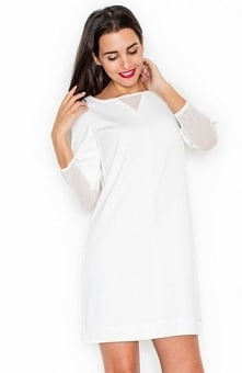 Katrus K323 sukienka ecru Modna sukienka, prosty fason, dekolt ozdobiony tiulową wstawką