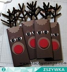Opakowanie na czekoladę w kształcie renifera :)