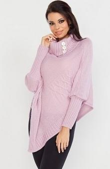 Fobya F230 sweter pudrowy róż Ciepły sweter damski, fason typu poncho, piękny golf