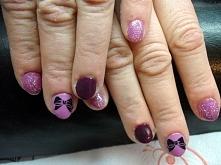 Hybrydy Semilac  fiolet 10 Pink & Violet  ciemny fiolet 15 Plum brokat 109 Miss of the world Płytka Konad m59  Zapraszam na wykonanie mani do Krakowa