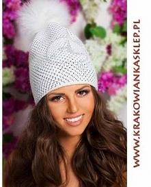 czapka na zimę z cyrkoniami