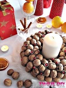 Wianek z orzechów / wreath with nuts diy - tutorial twojediy.pl