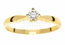 WZ 552 Ponadczasowy, klasyczny pierścionek zaręczynowy ze złota z brylantem 0...