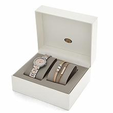 świetny pomysł na prezent, damski zegarek Fossil w komplecie z bransoletkami, eleganckie oryginalne pudełko