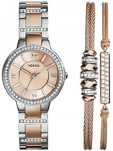 śliczny komplet: zegarek Fossil i 2 bransoletki