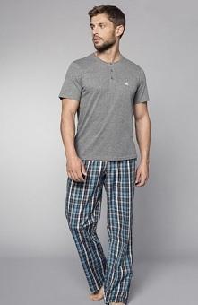 Henderson Imago 33769-09X piżama szara Komfortowa piżama męska, melanżowa kos...