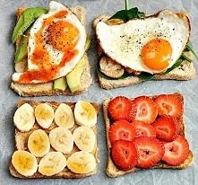 1. Chleb + avocado + jajko sadzone + ostry sos 2. Sałata roca + pieczarki + jajko sadzone 3. Masło orzechowe + banan 4. Nutella + truskawki