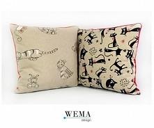 Modna poducha/poszewka stylizowane na lniane (materiał wykonania: bawełna).  Z każdego materiału szyjemy poduszki, poszewki i pościele w DOWOLNYM wymiarze (dopłata tylko za doda...