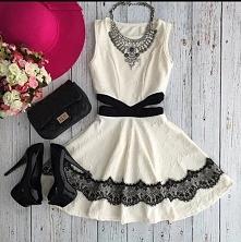 cream- black dress