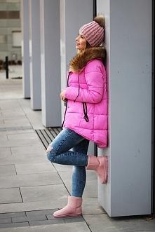 Różowe eskimoski z zamszu. Blogerka: Tiny Propoerty czasnabuty.pl