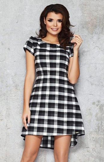 Infinite You M034 sukienka czarna Modna sukienka, wykonana z dzianiny w modną kratkę, kobiecy fason