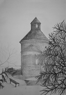 ćwiczenia, architektura pierwszy raz rysunek budynku w cegle :D rotunda z absydą :D