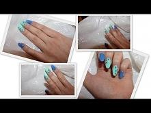 Niebiesko- miętowe paznokcie z cegiełkami/ M&A Beauty lakiery Cosmetics Zone