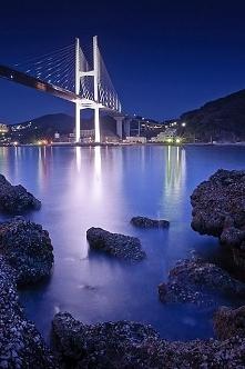Still Waters, Bridge at night, Nagasaki, Japan.