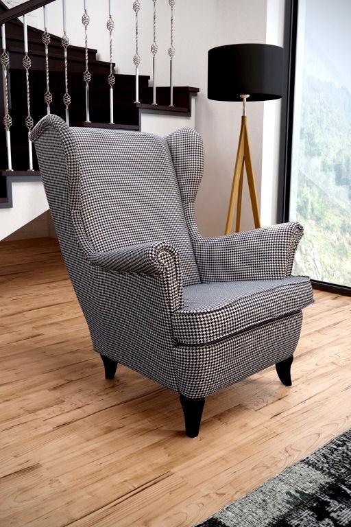 fotel uszak w tkaninie pepitka na meble na sprzedaż nowe i