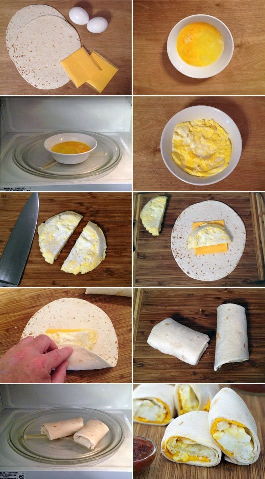 """Śniadanie na szybko: tortilla z jajkiem i serem. Do miseczki wysmarowanej olejem wbijamy 2 duże jajka i mieszamy na """"omlet"""" dodajemy trochę soli i pieprzu do smaku, wsadzamy miseczkę z jajkiem do mikrofalówki na 90 stopni i grzejemy aż jajka zrobią się ala jajecznica grzanie powinno trwać 30 sec. Kładziemy tortille na talerz kładziemy plaster sera lub straty ser na ser kładziemy przekrojone na pół jajko. Zawijamy i wsadzamy ponownie do mikrofali , znów na temp. 90 stopni i grzejemy 20 sec. SMACZNEGO :)"""