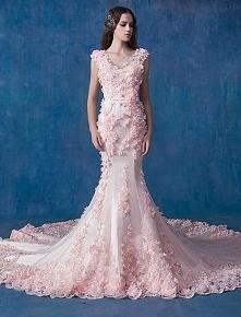 Glamour Różowa Suknia Ślubna Syrena Suknie Ślubne Aplikacja Organzy PL zł1,059