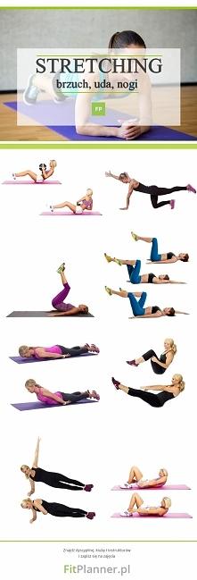 Ćwiczenia rozciągające na brzuch, uda i nogi  ❤️  Wykonanie: Wykonaj każde ćwiczenie w 3 seriach po 60 sekund. Pamiętaj, aby wykonać ćwiczenia angażujące nogi na prawą jak i lew...