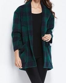 Zielony płaszczyk w kratkę