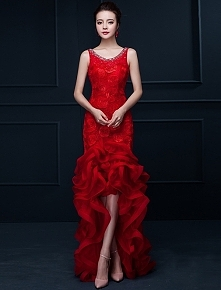 Efektowne Syrenka Czerwone Długie Sukienki Wizytowe Kwiat Impreza Sukienka Z ...