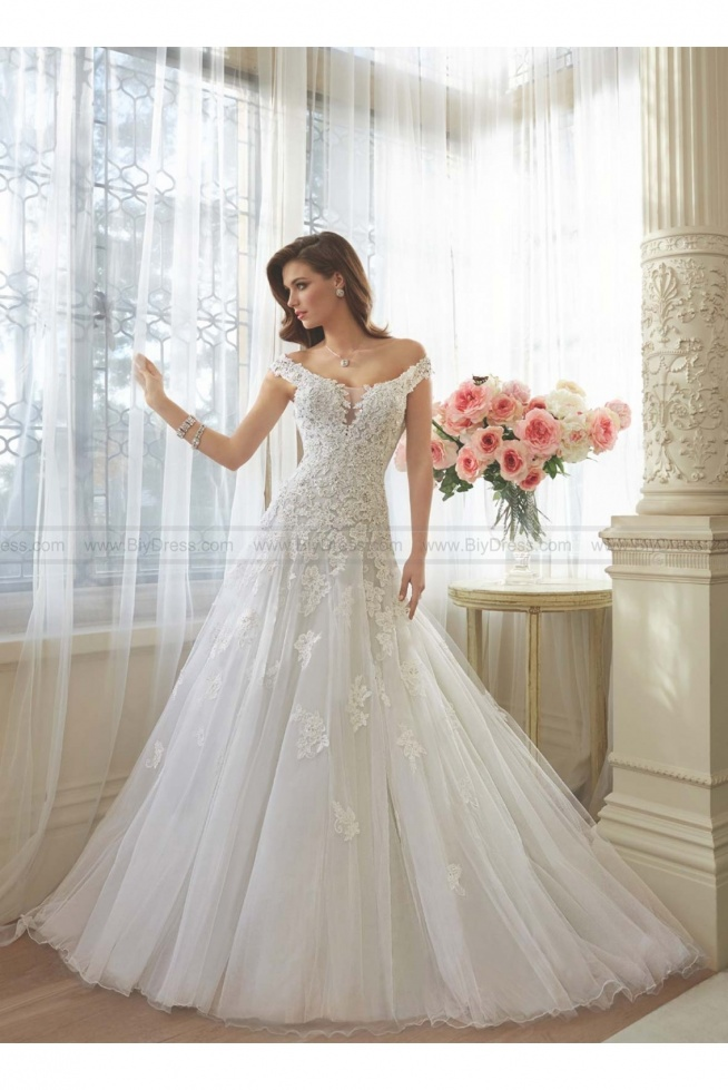 Sophia Tolli Style Y11635 - Vasya Off-the-shoulder misty tulle full A-line sweetheart wedding gown  USD$479.00 (59% off)  2016 wedding dress,cheap wedding dresses online,plus size wedding dresses,wedding dress for sale,wedding dress prices