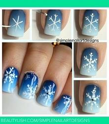 hybryda - ombre + śnieżynki