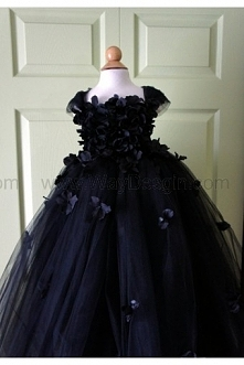 Flower girl dress Black Dress Black tutu dress, flower top, hydrangea top, toddler tutu dress Cascading flowers
