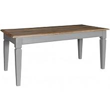 Stół marki Belldeco z serii Bristol Grey o szarej podstawie i drewnianym blacie.