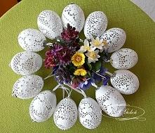 pisanki ażurowe z wydmuszek jaj kurzych