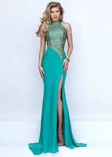 Lovely High Neck Beaded Unique Waist Sexy Sherri Hill 50148 Emerald Side Slit Prom Dress 2016