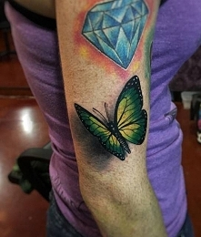 Green Butterfly 3D tattoo