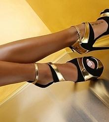 Czarno-złote szpilki