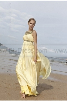 Beaded Neckline Satin Eveni...