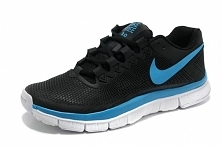 Mens Nike 3.0 Free Running Shoes Black Blue - Cheap Nike Free Outlet
