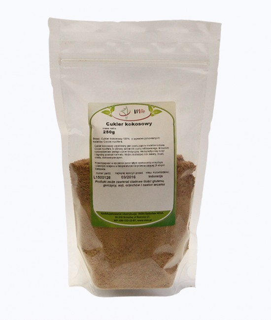 Cukier kokosowy, posiada najniższy indeks glikemiczny, w smaku jest słodki i posiada wyjątkowy zapach połączenia karmelu i tofii.