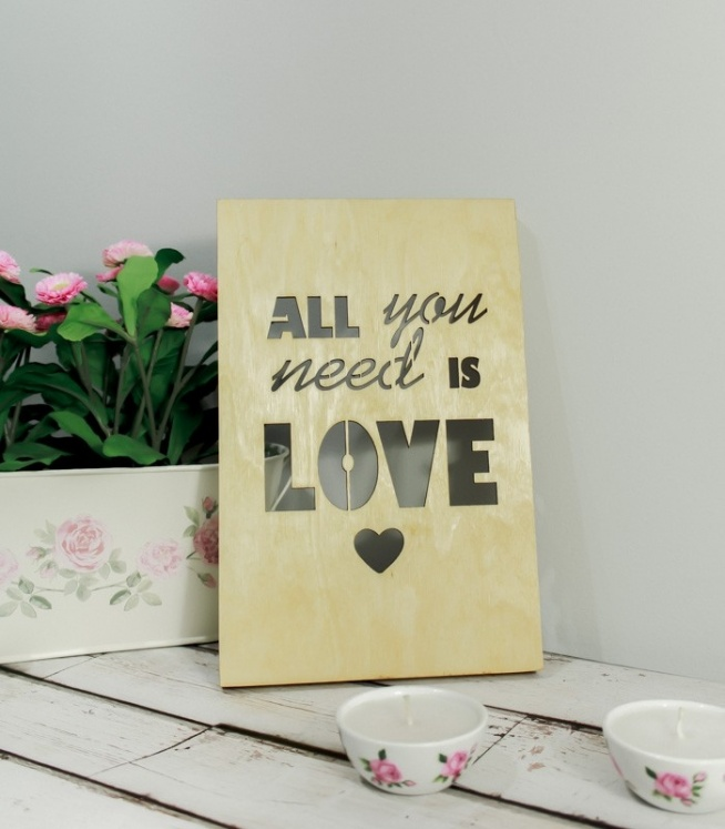 Drewniany Plakat 3D - All You Need is Love