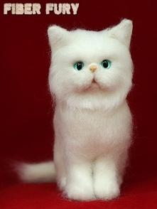 Needle felted Kitten, Kotek z wełny, Fiber fury