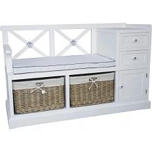 Funkcjonalna ławko-szafeczka na przedpokój z miękkim siedziskiem i dużą ilością miejsca do przechowywania.
