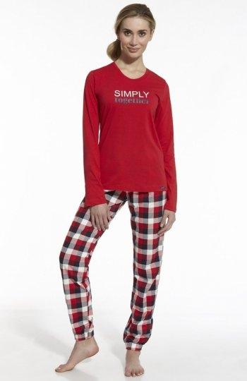 Cornette Simply Together 673/42 piżama Komfortowa dwuczęściowa piżama, bluzka z długim rękawem, przód ozdobiony napisem Simply Together