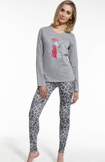 Cornette Giraffe 669/46 piżama Urocza piżama damska, z przodu nadruk słodkiej żyrafy, bluzka z długim rękawem