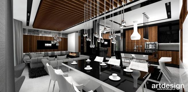 Projekt Wnętrz Domu Jadalnia Salon Kuchnia Look 77 Na
