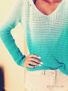ażurowy,ombre sweterek