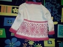 sweterek na drutach dla dziewczynki,  rozmiar 86,  scieg jerseyowy i francusk...