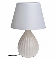 Lampa ceramiczna prążkowana kremowa Stan:  Nowy produkt  Lampa stołowa z pods...