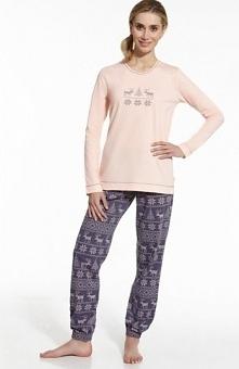 Cornette Nordic 673/43 piżama Modna dwuczęściowa piżama, utrzymana w skandynawskim stylu, bluzka w jasnoróżowym kolorze