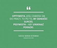 Optymista, jeśli zabiera się do pracy, to po to, by odnieść sukces, pesymista...