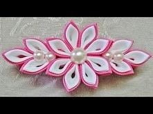 DIY kanzashi flower hairclip, kanzashi flower tutorial, how to, kanzashi flores de cinta