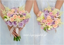 bukiet ślubny lila krem  łosoś wyk. Bajeczny Ślub